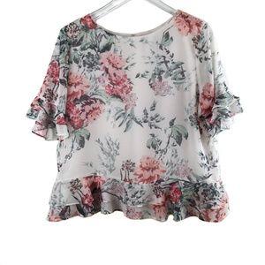 Adrienne Vittadini floral blouse size large